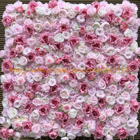 Wholesale artificial plants led lights resale online - 12pcs Artificial Flower Wall Wedding Background Very Light Dark Rose Peony Lawn Pillar Fake Flower Plate Road Lead Home D