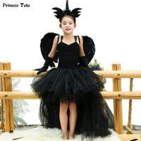 ingrosso coda nera corta-Black Angel Tutu Dress Before Short Dopo Tulle Long Girl Dress Tail Bambini Pageant Evening Party Dress Ragazze Halloween Costume Q190522