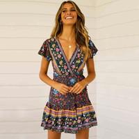 plissierte kleidung großhandel-Neue sommerkleider für frauen kurzarm böhmischen strand plissee dress v-ausschnitt pendel blume casual dress frauen kleidung s-xl