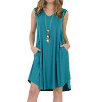 Wholesale plus size short sundresses resale online – Solid Color Sleeveless Pockets V neck Sundress Women s Summer Casual Loose Dress fashion plus size XL