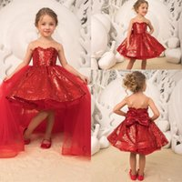 красное платье девушки цветка блестки оптовых-2019 новый красный блеск блестки цветочница платья со съемной тюль юбка девушки партии день рождения платья корсет обратно с бантом BC2163