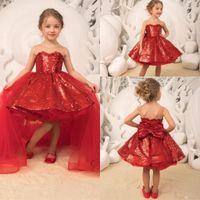 robe fleur fille sequin rouge achat en gros de-2019 nouveau rouge paillettes paillettes robes de demoiselle avec jupe en tulle amovible jupe filles fête danniversaire robes corset retour avec arc bc2163