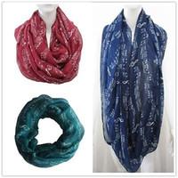музыкальный платок оптовых-Women Fashion Winter Music Note Treble Clef Shawl Stole Scarves Scarf Wrap