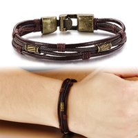 Wholesale Fashion Multi Layer Genuine Leather Man Punk Bracelets Casual Sporty Easy Alloy Hook Link Chain Men Jewelry Cheap Price
