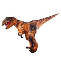 trajes dino venda por atacado-Traje inflável da mascote do traje da mascote gigante inflável T REX dinossauro terno para adulto traje inflável de dino para o dia das bruxas