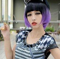 siyah cosplay bob peruk toptan satış-PERUK SXY Moda Serin Lady Cosplay Kostüm Lolita Peruk Siyah Mor Kısa Bob Saç Peruk