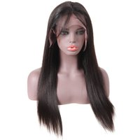 Wholesale human hair wigs online - 10A Straight Human Hair Lace Front Wigs Brazilian Hair lace front wigs Medium Size Swiss Lace Cap Bleached Knots