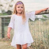 fee kleidung großhandel-2019 europa und amerika ins sommer kinderbekleidung mädchen kleid fairy fliegen ärmel spitze hohl jacquard kleid casual strand rock