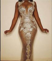 personalizado alto pescoço vestidos de noite venda por atacado-vestido de noite Ziad nuas 2020 Crystals Yousef aljasmi Neck-alta prata fora do ombro Mermaid f loor comprimento do vestido kim kardashian Zaa Personalizar