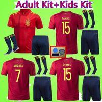 Wholesale spain soccer jersey kids for sale - Group buy 2020 Europen cup Spain kids soccer Jersey kit socks RAMOS ISCO PIQUE SERGIO M ASENSIO MORATA kids Spain home shirt Football uniforms