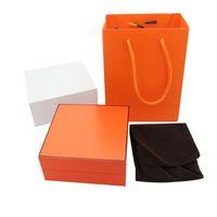 halskette handtasche großhandel-Art und Weise neues hochwertigstes orange Armband der Farbe H Ring-Halskettenkasten ursprüngliche Handtaschenschmucksachen kaufen bitte mit Schmucksachen, die zusammen gesendet werden