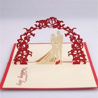 Wholesale pop up card heart 3d resale online - pieces D Pop Up Bride And Groom Wedding Invitation Card Vintage Red Heart Marriage Invitations With Envelope IC106