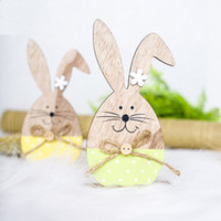 Wholesale wood decoration stands for sale - Group buy Easter Rabbit Wood Decorations Easter Egg Ribbon Stand Decoration Nordic INS Wooden Bunny Egg Painted Small Ornaments