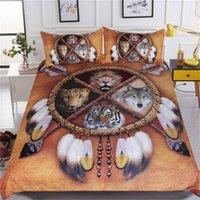 cama de leopardo rei venda por atacado-Lobo Dreamcatcher cama Set rei capa de edredão de animais em 3D Colchas Tribal Quarto Bed Lion Tiger Leopard Set