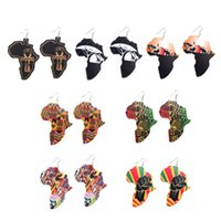 Wholesale colorful art prints for sale - Group buy Retro Wooden African Maps Earrings Colorful Printed Graffiti Arts Eardrop Dangle Pendant Ear Hooked Mixed Style Wood Hip Hop Women Jewelry