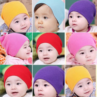 Wholesale free knit baby hats resale online - Cotton Baby Knit Hat Fashion Kids Candy Colors Soft Hat Lovely Girl Winter Beanies Cap Outdoot Warm Travel CapTTA1628