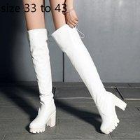 chunky ferse oberschenkel hohe stiefel weiß groihandel-komfortable Plattform Blockabsatz über das Knie Oberschenkel hohe Stiefel Mode Luxus-Designer-Frauen Stiefel sexy Booties weiß Größe 33 bis 42 43