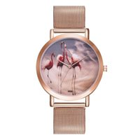 armband drucken großhandel-Nordic Flamingo Print Round Dial Mesh Strap Analog Quarz Damen Armbanduhr Geschenk 2018NEW
