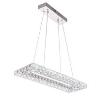 plafonniers cordons achat en gros de-AC110-240V L60 * W20cm 32W Rectangle LED cordon suspendu lampes K9 cristal en acier inoxydable plafond suspension lampe LED luminaire luminaire