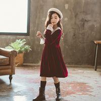 Wholesale 3t petal dress for sale - Group buy 2019 Autumn Winter Fleece Baby Dresses Princess Girls Teenager Party Dress Lace Patchwork Long Sleeve Big Kids Dress Red Black T200104
