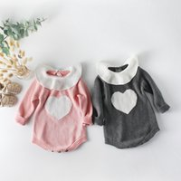 Wholesale baby clothing new design for sale - Group buy 2020 New Design Baby Girls Romper Kids Love Heart Long Sleeves Knitted Romper Fashion Toddler Clothes