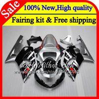 k1 gsxr schwarze silberne verkleidungen großhandel-Karosserie Für SUZUKI GSX-R600 Silber schwarz GSXR 750 K1 GSXR750 01 02 03 23HT19 GSXR 600 01 03 GSX-R750 GSXR600 2001 2003 Verkleidung Karosserie