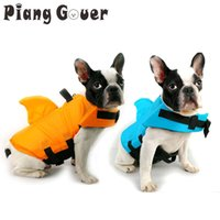 Wholesale yellow dog jacket for sale - Group buy Vest Summer Shark Pet Life Jacket Dog Clothes Dogs Swimwear Pets Safety Swimming Suit SH190628