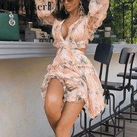 monos de fiesta cortos al por mayor-Glamaker Gasa Estampado floral Sexy Mono Corto Mujer Lace Up Elegante Verano Romper Adulto Ruffle Beach Backless Party Playsuit Y19060501
