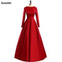 zuhair murad rote lange hülse großhandel-Red Abendkleid Langarm muslimischen formellen Abend Prom Party Kleider zuhair murad plus Größe formelle Kleidung frei