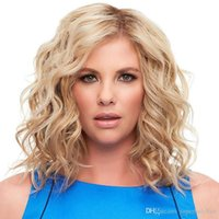Wholesale synthetic hair deep curls resale online - Ladies wig light gold short curly hair small curly synthetic wigs women deep wave small curls hairpieces hair wigs