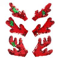 accessoires de cheveux de paillette rouge achat en gros de-Accessoires de cheveux de Noël de bricolage Antler rouge bébé paillettes de cheveux arcs sans clips accessoires de cheveux pour enfants 3Styles