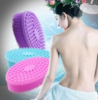 Wholesale bathroom massager resale online - Silicone Body Brush Body Wash Bath Shower Skin Care Exfoliating Cleanser Bathroom Soft Silicone Massager Brush KKA6565