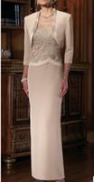 Wholesale making chiffon silk for sale - Group buy romantic vestidos de novia farsali vestido de madrinha fashionable cheap lace long Mother of the Bride Dresses with jacket