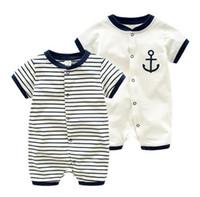 diseños de ropa para bebé al por mayor-Baby Infant Boy Diseñador Ropa Romper Boy Stripped diseño Manga corta Romper baby Climbing 100% algodón ropa de verano