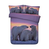 ingrosso re scherzano-3D stampato bianco orso polare set biancheria da letto per bambini ragazze e ragazzi Wildlife Theme 3 pezzi copripiumino set 2 cuscini shams nessun piumino con YKK