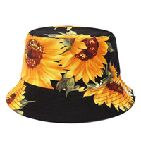 ingrosso tessuto di stampa girasoli-Stampato Girasole Bucket Hat Caps strato Pescatore Panama del tessuto di cotone dei cappelli di Sun casuale Unisex Moda Cappelli Panama piatti Cappelli