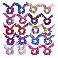 orejas de conejo diademas al por mayor-Laser Rabbit Ears Girls Hairbands Elegante Solid Elastic Ponytail Tie Hair Band Moda Mujeres Lady Kids Diadema Accesorios para el cabello HHA607