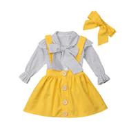 camisa de manga amarela venda por atacado-Outono Coreano INS Moda Bebê Recém-nascido Roupas Meninas Longo Puff Manga Ploka Dot Tops Camisa Bib Amarelo Vestido Headband Outfits Set
