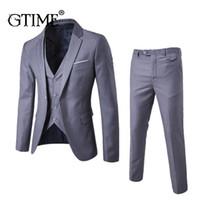 ingrosso ufficio giubbotto giacca-Gtime Dropshipping 3pcs / set Blazer da uomo Suit per la cerimonia nuziale Slim Fit Business Office Jacket Jacket Suit uomo con pantaloni Vest 6XL ZS9