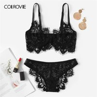 b6dadaa8b02 COLROVIE Black Eyelash Lace Sexy Lingerie Set Briefs Women Intimates 2019  See Through Transparent Underwire Underwear Bra Set
