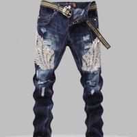 ingrosso jeans di ricamo maschile-Jeans uomo paillettes maschio aquila ali ricamo cucitura paillettes buco jeans pantaloni slim costina mens robin jeans Y190509