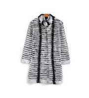 las mejores pieles al por mayor-70cm 90cm de largo fino Tamaño rayas grises Rex piel de chinchilla de piel rayada CoatGrey Outwear / Plus personalizado abrigos de pieles de las mujeres Plus