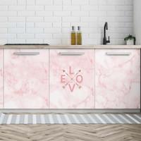refrigerador de la habitación al por mayor-Patrón de mármol rosado de la cocina Wallpaper Armario Frigorífico Impermeable Extraíble Pegatina Aire acondicionado Dormitorio Armario Pegatinas