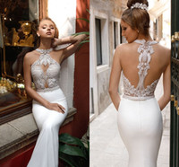 Wholesale halter open back sexy wedding dress for sale - Group buy Sexy Beaded Halter Mermaid Wedding Dresses Luxury Crystal Appliqued Open Back Bohemian beach Boho Plus Size Bridal Gown