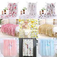 couvertures d'été pour enfants achat en gros de-34 Styles 110 * 120cm Couverture de bébé Été nouvelle mousseline bébé gaze sac serviette double coton bambou enfants serviette de bain bébé couverture swadding M170