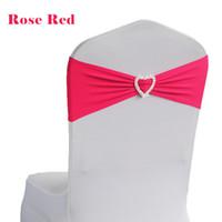 ingrosso sedia di banchetto nera spandex-50pcs Lycra Spandex Stretch Wedding Telai della sedia fascia a forma di cuore fibbia banchetto di nozze decorazione del partito sedia telaio bianco nero