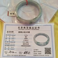 jóias de jade jadeite naturais venda por atacado-Um Certificado de Jadeíte Natural Pulseira Esculpida 54-60mm Azul Jade Menina Anel Presente Da Jóia