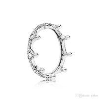 corona de plata de ley al por mayor-NUEVA moda 925 anillo de corona de plata esterlina conjunto caja original para Pandora CZ Diamond mujeres anillos de boda