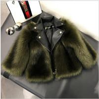casaco de grama venda por atacado-Novas publicações Curto Estilo menina casaco de pele Jacket Imitação Fox Artificial Fur Grama alta qualidade Plush + Couro Inverno Crianças Baby Girl Outwear