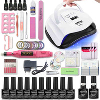 nagellack set großhandel-Maniküre-Set für Nail Kit 80W UV-Lampen-Trockner-Nagel-Set mit Bohrgerät-Maschine 10pcs Gel-Polnisches tränken weg Maniküre-Werkzeug-Kit